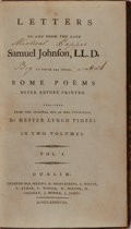 Books:Biography & Memoir, Hester Lynch Piozzi. Letters to and From the Late Samuel Johnson, LL.D. to Which are Added, Some Poems Never...