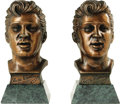 "Music Memorabilia:Memorabilia, Elvis Presley Bronze Busts. A pair of cast bronze busts of Presleyfrom 1961, each measuring 7"" in height with a separate 3....(Total: 1 Item)"
