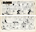 Original Comic Art:Comic Strip Art, Chic Young - Blondie Sunday Comic Strip Original Art, dated 7-15-51 (King Features Syndicate, 1951). Blondie is having one o...