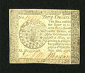 Colonial Notes:Continental Congress Issues, Continental Currency September 26, 1778 $40 Extremely Fine-AboutNew. A couple of very light folds are found on this attract...