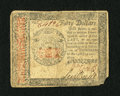 Colonial Notes:Continental Congress Issues, Continental Currency January 14, 1779 $40 Fine-Very Fine.This wellsigned note faces up well despite the center fold breaks ...