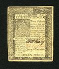 Colonial Notes:Delaware, Delaware January 1, 1776 18d Extremely Fine-About New. This is alightly quarterfolded note which has good margins, crisp pa...