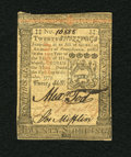Colonial Notes:Pennsylvania, Pennsylvania October 1, 1773 20s Choice About New. A fainthorizontal center fold is found on this note which has goodprint...