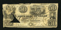 Miscellaneous:Republic of Texas Notes, Republic of Texas $50 June 10, 1839. This note has been split andrepaired, but is still crisp. Damaged Very Good-Fine....