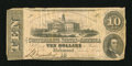 Confederate Notes:1862 Issues, T52 $10 1862. Some crispness is seen on this example. Fine....