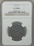 Large Cents, 1794 1C Head of 1794 VF30 NGC. S-63, B-37, R.2....