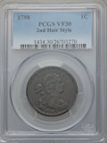 Large Cents, 1798 1C Second Hair Style VF30 PCGS. S-167, B-33, R.1....