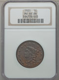 Large Cents, 1820 1C Large Date MS64 Brown NGC. N-13, R.1....