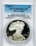 Modern Bullion Coins, 1987-S $1 Silver Eagle PR70 Deep Cameo PCGS. PCGS Population (454).NGC Census: (426). Mintage: 904,732. Numismedia Wsl. Pr...