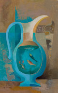 Texas:Early Texas Art - Modernists, BROR ALEXANDER UTTER (American, 1913-1993). Pitcher, Two Fish,and a Lobster, circa 1950. Oil on canvas. 14 x 10 inches ...