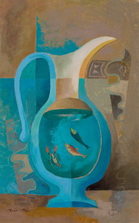 BROR ALEXANDER UTTER (American, 1913-1993) Pitcher, Two Fish, and a Lobster, circa 1950 Oil on canva