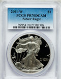 Modern Bullion Coins, 2001-W $1 Silver Eagle PR70 Deep Cameo PCGS. PCGS Population(1017). NGC Census: (3521). Numismedia Wsl. Price for problem...