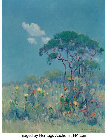 DAWSON DAWSON-WATSON (British/American, 1864-1939) Texas Cacti Oil on canvas 21 x 16-1/4 inches (53.3 x 41.3 cm) Sig...