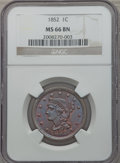 Large Cents, 1852 1C MS66 Brown NGC. N-8, R.2....