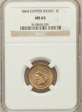 Indian Cents, 1864 1C Copper-Nickel MS65 NGC. NGC Census: (111/16). PCGSPopulation (115/17). Mintage: 13,740,000. Numismedia Wsl. Price ...