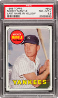 Baseball Cards:Singles (1960-1969), 1969 Topps Mickey Mantle, Yellow Letters #500 PSA NM-MT+ 8.5. ...