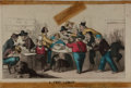 "Books:Americana & American History, [Americana]. Nineteenth-Century Hand-Colored Satirical Cartoon.Entitled, ""A Free Lunch."" Measures 10 x 6.75 inches. Signifi..."