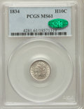 Bust Half Dimes: , 1834 H10C MS61 PCGS. CAC. PCGS Population (18/272). NGC Census:(31/359). Mintage: 1,480,000. Numismedia Wsl. Price for pro...