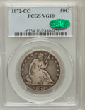 Seated Half Dollars, 1872-CC 50C VG10 PCGS. CAC. PCGS Population (8/121). NGC Census:(1/56). Mintage: 257,000. Numismedia Wsl. Price for proble...