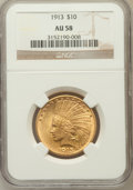 Indian Eagles: , 1913 $10 AU58 NGC. NGC Census: (794/4692). PCGS Population(781/3485). Mintage: 442,071. Numismedia Wsl. Price for problem ...