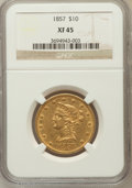 Liberty Eagles: , 1857 $10 XF45 NGC. NGC Census: (30/84). PCGS Population (31/35).Mintage: 16,606. Numismedia Wsl. Price for problem free NG...