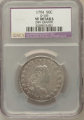 Early Half Dollars, 1794 50C -- Obverse Graffiti -- NCS. VF Details. O-105. NGC Census:(31/125). PCGS Population (37/95). Mintage: 23,464...