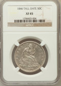 Seated Half Dollars: , 1846 50C Tall Date XF45 NGC. PCGS Population (14/51). ...