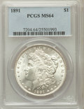 Morgan Dollars: , 1891 $1 MS64 PCGS. PCGS Population (1705/123). NGC Census:(1147/127). Mintage: 8,694,206. Numismedia Wsl. Price for proble...