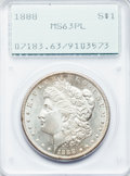 Morgan Dollars: , 1888 $1 MS63 Prooflike PCGS. PCGS Population (136/201). NGC Census:(99/118). Numismedia Wsl. Price for problem free NGC/P...