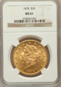 Liberty Double Eagles: , 1878 $20 MS61 NGC. NGC Census: (467/297). PCGS Population(295/323). Mintage: 543,645. Numismedia Wsl. Price for problemfr...