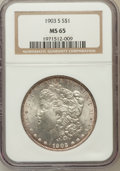 Morgan Dollars, 1903-S $1 MS65 NGC. NGC Census: (42/10). PCGS Population (125/37).Mintage: 1,241,000. Numismedia Wsl. Price for problem fr...
