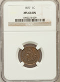 Indian Cents, 1877 1C MS64 Brown NGC. NGC Census: (27/10). PCGS Population(25/8). Mintage: 852,500. Numismedia Wsl. Price for problem fr...