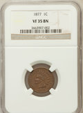 Indian Cents, 1877 1C VF35 Brown NGC. NGC Census: (84/579). PCGS Population(152/889). Mintage: 852,500. Numismedia Wsl. Price for proble...