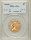 Indian Half Eagles: , 1908-D $5 MS64 PCGS. PCGS Population (344/11). NGC Census: (471/4).Mintage: 148,000. Numismedia Wsl. Price for problem fre...