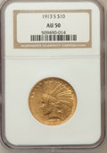 Indian Eagles: , 1913-S $10 AU50 NGC. NGC Census: (62/687). PCGS Population(64/470). Mintage: 66,000. Numismedia Wsl. Price for problem fre...