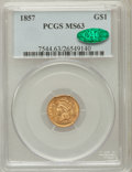 Gold Dollars: , 1857 G$1 MS63 PCGS. CAC. PCGS Population (97/67). NGC Census:(85/49). Mintage: 774,789. Numismedia Wsl. Price for problem ...