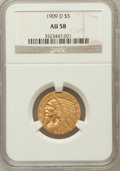 Indian Half Eagles: , 1909-D $5 AU58 NGC. NGC Census: (3170/26799). PCGS Population(2483/25279). Mintage: 3,423,560. Numismedia Wsl. Price for p...