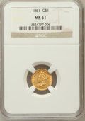 Gold Dollars: , 1861 G$1 MS61 NGC. NGC Census: (313/767). PCGS Population(117/658). Mintage: 527,499. Numismedia Wsl. Price for problemfr...