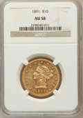 Liberty Eagles: , 1891 $10 AU58 NGC. NGC Census: (26/641). PCGS Population (29/382).Mintage: 91,868. Numismedia Wsl. Price for problem free ...