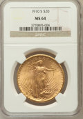 Saint-Gaudens Double Eagles, 1910-S $20 MS64 NGC. NGC Census: (540/76). PCGS Population(1062/190). Mintage: 2,128,250. Numismedia Wsl. Price for proble...