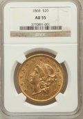 Liberty Double Eagles: , 1868 $20 AU55 NGC. NGC Census: (38/52). PCGS Population (16/34).Mintage: 98,500. Numismedia Wsl. Price for problem free NG...
