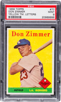 Baseball Cards:Singles (1950-1959), 1958 Topps Don Zimmer, Yellow Team #77 PSA Mint 9 - Pop One, NoneHigher! ...