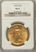 Saint-Gaudens Double Eagles, 1925-S $20 MS61 NGC. NGC Census: (75/169). PCGS Population(28/183). Mintage: 3,776,500. Numismedia Wsl. Price for problem ...