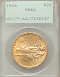 Saint-Gaudens Double Eagles: , 1924 $20 MS64 PCGS. PCGS Population (81624/47833). NGC Census:(101579/37233). Mintage: 4,323,500. Numismedia Wsl. Price fo...