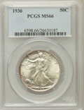 Walking Liberty Half Dollars: , 1936 50C MS66 PCGS. PCGS Population (790/130). NGC Census:(573/104). Mintage: 12,617,901. Numismedia Wsl. Price for proble...