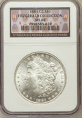Morgan Dollars, 1881-CC $1 MS64 NGC. Ex: Fitzgerald Collection. NGC Census:(3335/3030). PCGS Population (7001/5841). Mintage: 296,000. Num...