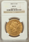 Liberty Double Eagles: , 1884-CC $20 AU53 NGC. NGC Census: (145/1034). PCGS Population(119/523). Mintage: 81,139. Numismedia Wsl. Price for problem...