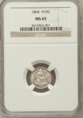 Seated Half Dimes: , 1864 H10C MS65 NGC. NGC Census: (13/8). PCGS Population (2/7).Mintage: 48,000. Numismedia Wsl. Price for problem free NGC/...