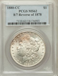 Morgan Dollars, 1880-CC $1 8/7 Reverse of 1878 MS62 PCGS. PCGS Population (50/496)....