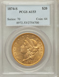 Liberty Double Eagles: , 1874-S $20 AU53 PCGS. PCGS Population (116/949). NGC Census:(173/2259). Mintage: 1,214,000. Numismedia Wsl. Price for prob...